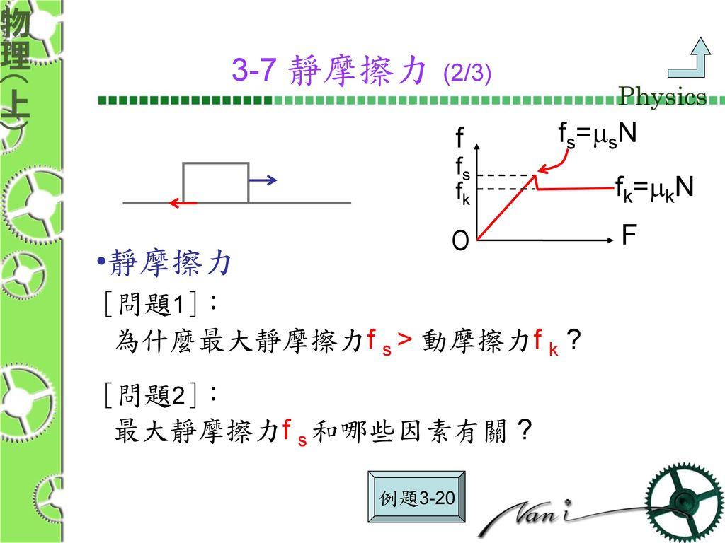 3-7 靜摩擦力 (2/3) 靜摩擦力 fs=msN f fk=mkN F O [問題1]:
